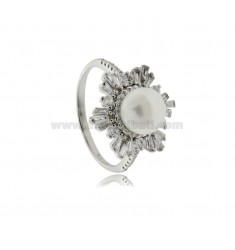 FLOWER RING WITH PEARL MM 8 AND BAGUETTE OF WHITE ZIRCONIA IN SILVER RHODIUM TIT 925 SIZE 18