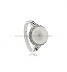 RING WITH PEARL MM 10 AND WHITE ZIRCONIA IN SILVER RHODIUM TIT 925 MEASURE 20