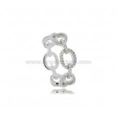 CHAIN RING WITH WHITE ZIRCONS IN SILVER RHODIUM-PLATED TIT 925 MEASURE 16