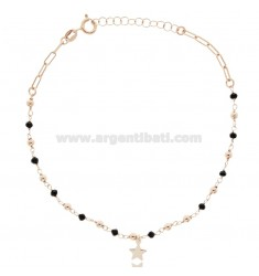 ANKLET IN ROSE SILVER TIT 925 ‰ WITH STAR AND STONES 22 CM EXTENDABLE TO 25