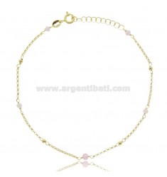 ROLO ANKLE IN SILVER GOLDEN TIT 925 ‰ WITH STONES 22 CM EXTENDABLE TO 25