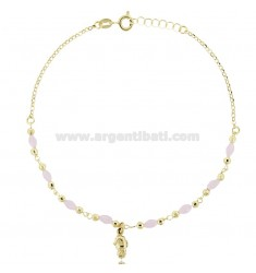 ANKLE ROLO IN SILVER GOLDEN TIT 925 ‰ WITH STONES AND HORSE BODY CM 22 EXTENDABLE TO 25