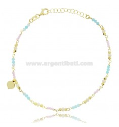 ANKLET SILVER GOLDEN TIT 925 ‰ WITH HEART AND STONES 22 CM EXTENDABLE TO 25