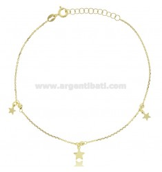 CABLE ANKLE IN SILVER GOLDEN TIT 925 ‰ WITH STARS CM 22 EXTENDABLE TO 25