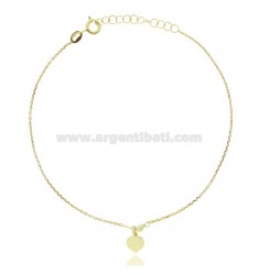 CABLE ANKLE IN SILVER GOLDEN TIT 925 ‰ WITH HEART CM 22 EXTENDABLE TO 25