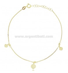 CABLE ANKLE IN SILVER GOLDEN TIT 925 ‰ WITH HEARTS CM 22 EXTENDABLE TO 25