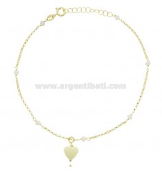 ANKLE ROLO IN SILVER GOLDEN TIT 925 ‰ WITH HEART AND STONES CM 22 EXTENDABLE TO 25