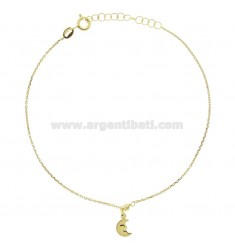 CABLE ANKLE IN SILVER GOLDEN TIT 925 ‰ WITH MOON 22 CM EXTENDABLE TO 25