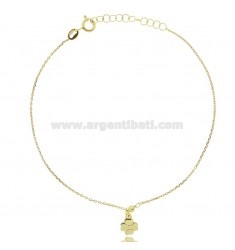 CABLE ANKLE IN SILVER GOLDEN TIT 925 ‰ WITH FOUR LEAF CLOVER CM 22 EXTENDABLE TO 25