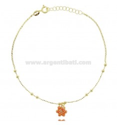 ANKLET SILVER GOLDEN TIT 925 ‰ WITH STONE FLOWER CM 22 EXTENDABLE TO 25