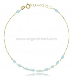 CABLE ANKLE IN SILVER GOLDEN TIT 925 ‰ AND STONES 22 CM EXTENDABLE TO 25