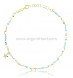 ANKLET SILVER GOLDEN TIT 925 ‰ WITH STAR AND STONES 22 CM EXTENDABLE TO 25
