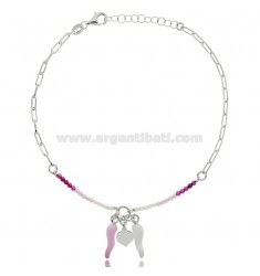 ANKLET SILVER RHODIUM-PLATED TIT 925 ‰ WITH ENAMELED HORN AND STONES 22 CM EXTENDABLE TO 25