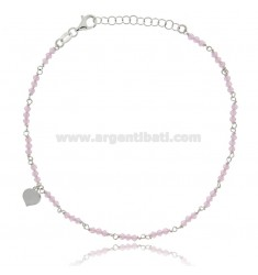 ANKLE SILVER RHODIUM-PLATED TIT 925 ‰ WITH HEART AND STONES 22 CM EXTENDABLE TO 25