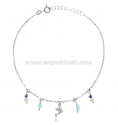 ANKLET SILVER RHODIUM-PLATED TIT 925 ‰ WITH DOLPHIN AND STONES 22 CM EXTENDABLE TO 25