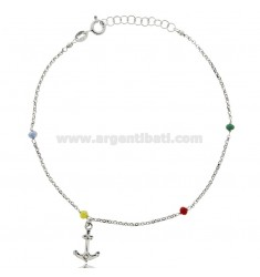 ANKLE ROLO IN SILVER RHODIUM-PLATED TIT 925 ‰ WITH STONES AND STILL 22 CM EXTENDABLE TO 25