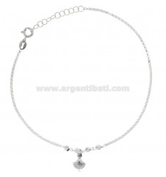 ANKLE ROLO IN SILVER RHODIUM-PLATED TIT 925 ‰ WITH SHELL CM 22 EXTENDABLE TO 25