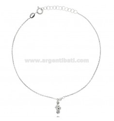 CABLE ANKLE IN SILVER RHODIUM-PLATED TIT 925 ‰ WITH HIPPOCAMPO 22 CM EXTENDABLE TO 25