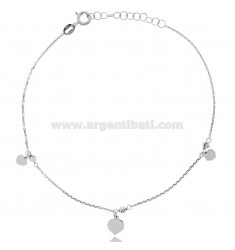 CABLE ANKLE IN SILVER RHODIUM-PLATED TIT 925 ‰ WITH HEARTS CM 22 EXTENDABLE TO 25
