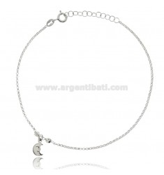 CABLE ANKLE IN SILVER RHODIUM-PLATED TIT 925 ‰ WITH MOON 22 CM EXTENDABLE TO 25