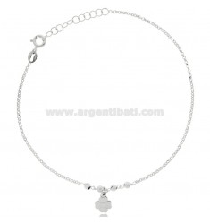 CABLE ANKLE IN SILVER RHODIUM-PLATED TIT 925 ‰ WITH FOUR-LEAF CLOVER CM 22 EXTENDABLE TO 25