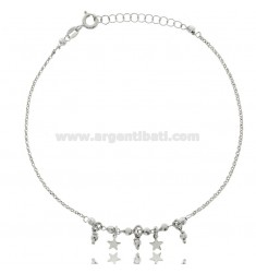 ANKLE ROLO IN SILVER RHODIUM-PLATED TIT 925 ‰ WITH BALLS AND STARS CM 22 EXTENDABLE TO 25