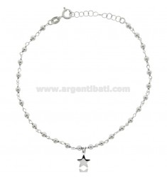 ROLO ANKLE IN SILVER RHODIUM-PLATED TIT 925 ‰ WITH BALLS AND STAR CM 22 EXTENDABLE TO 25