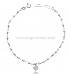 ANKLE ROLO IN SILVER RHODIUM-PLATED TIT 925 ‰ WITH BALLS AND HEART 22 CM EXTENDABLE TO 25