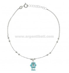 ANKLET SILVER RHODIUM-PLATED TIT 925 ‰ WITH STONE FLOWER CM 22 EXTENDABLE TO 25