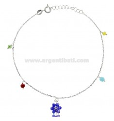 ANKLE SILVER RHODIUM TIT 925 ‰ WITH STONE FLOWER CM 22 EXTENDABLE TO 25