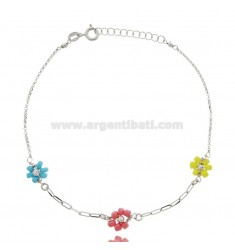 ANKLE SILVER RHODIUM TIT 925 ‰ WITH STONE FLOWERS CM 22 EXTENDABLE TO 25