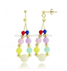 PENDANT EARRINGS WITH RESIN BALLS AND GOLDEN SILVER TIT 925