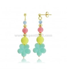 PENDANT EARRINGS WITH FLOWER AND SPHERES IN RESIN AND GOLDEN SILVER TIT 925