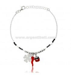 BRACELET WITH HORN, LADYBIRD AND FOUR LEAF CLOVER IN RHODIUM-PLATED SILVER TIT 925 ‰ HARD STONES AND ENAMEL 17-19 CM