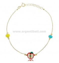 ANKLE SILVER GOLDEN TIT 925 ‰ WITH APPLE AND STONES 22 CM EXTENDABLE TO 25