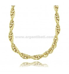 EMPTY ROPE NECKLACE 7 MM SILVER GOLDEN TIT 925 CM 40