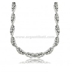 EMPTY ROPE NECKLACE 7 MM SILVER RHODIUM TIT 925 CM 40