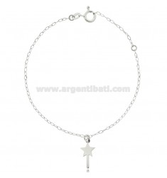 CABLE BRACELET WITH MAGIC WAND MM 8X6 SILVER RHODIUM TIT 925 CM 17-19