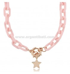 NECKLACE IN RESIN AND STAR IN ROSE SILVER TIT 925 ‰ CM 40