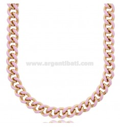 CHOKER NECKLACE AND GROUMETTE NECKLACE MM 8.2 IN ROSE SILVER TIT 925 ‰ AND ENAMEL