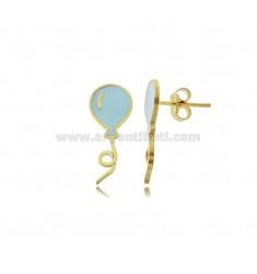 BALLOON EARRINGS ENAMELED SILVER GOLDEN TIT 925 ‰
