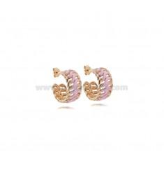 HOOP EARRINGS DIAMETER 13 MM CHAIN 9 MM ROSE SILVER TIT 925 ‰ AND ENAMEL