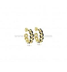 HOOP EARRINGS DIAMETER MM 18 GROUMETTE MM 5 IN SILVER GOLDEN TIT 925 ‰ AND ENAMEL