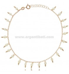 ROLO ANKLET WITH PENDANT BEADS IN ROSE SILVER TIT 925 ‰ CM 22 EXTENDABLE TO 25