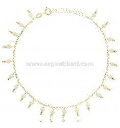 ROLO ANKLET WITH PENDANT BEADS IN SILVER GOLDEN TIT 925 ‰ CM 22 EXTENDABLE TO 25
