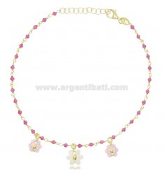 ANKLET WITH STONES AND FLOWERS IN SILVER GOLDEN TIT 925 ‰ CM 22 EXTENDABLE TO 25