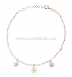ANKLET WITH STONES AND FLOWERS IN ROSE SILVER TIT 925 ‰ CM 22 EXTENDABLE TO 25