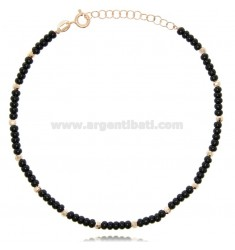ANKLET WITH STONES IN ROSE SILVER TIT 925 ‰ CM 22 EXTENDABLE TO 25
