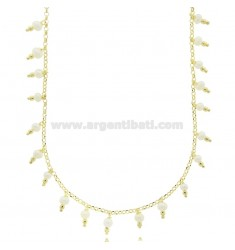 ROLO NECKLACE WITH PENDANT BEADS IN SILVER GOLDEN TIT 925 ‰ CM 38-43