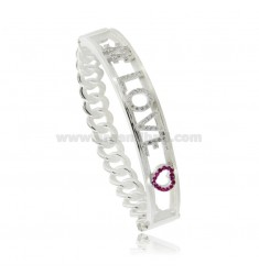 CUSTOMIZABLE RIGID CURB BRACELET WITH ZIRCONATED LETTERS IN TIT SILVER 925 AND ZIRCONIA